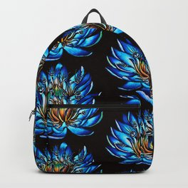 Multi Eyed Blue Water Lily Flower Backpack