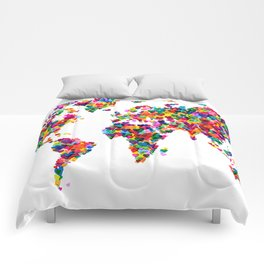 Love Hearts Map of the World Map Comforters