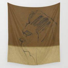 Man Portrait Charcoal Gesture Sketch Profile View Minimalist Beige Raw Umber Wall Tapestry