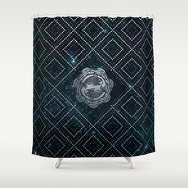 Pisces Zodiac Silver Embossed on the Star sky Shower Curtain