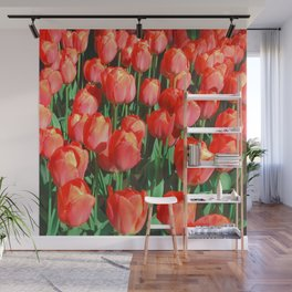 view of bright tulips Wall Mural