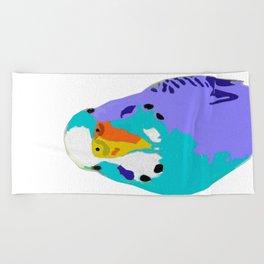 Parakeet Budgie Bird Colorized Beach Towel