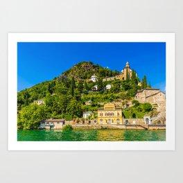 Lugano, Switzerland canton of Ticino bordering Italy, Lake Lugano village photograph Art Print