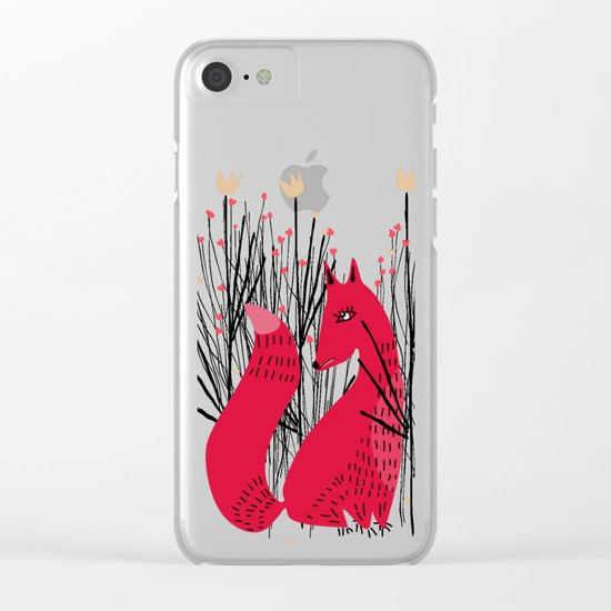 Fox in Shrub Clear iPhone Case