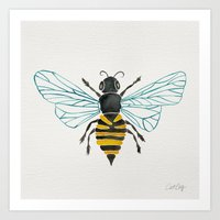 bee Art Prints featuring Honey Bee by Cat Coquillette