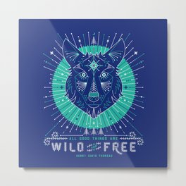 Wild & Free Wolf – Navy Metal Print