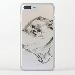 "Pomeranian hand free drawing "" Daniel"" Clear iPhone Case"