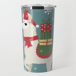 Cute Christmas Llama Travel Mug