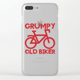 Senior Citizen T-Shirt Gift Grumpy old biker Clear iPhone Case