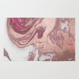 Rose Gold Pink White Painted Girly Abstract Marble Rug