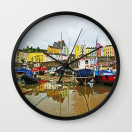 Tenby Harbour Reflection.Wales. Wall Clock