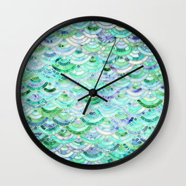 Marble Mosaic in Mint Quartz and Jade Wall Clock