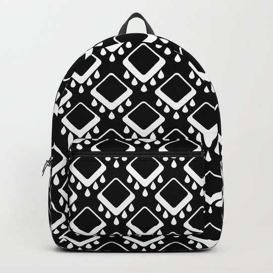 Abstract colorful geometric pattern . Black white . Backpack