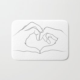 line art heart hands Bath Mat
