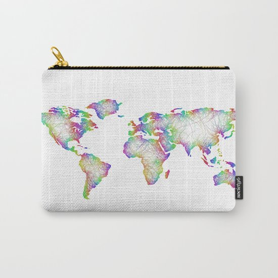 Rainbow World map Carry-All Pouch