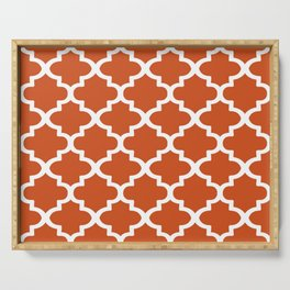 Arabesque Architecture Pattern In Burned Orange Serving Tray