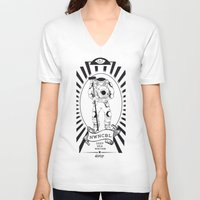 writer V-neck T-shirts featuring DEEP SEA WRITER by Weshdesign