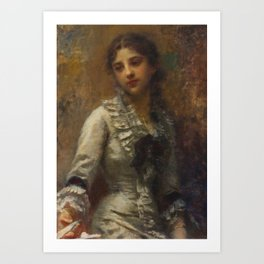 Daniele Ranzoni - Portrait of a young girl, oil on canvas, 1882 Art Print