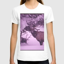 ELK EATING EPIPHYSES ON A PINE IN ISH RIVERS COUNTRY OF THE PACIFIC NORTHWEST. NEAR SEATTLE NARA T-shirt