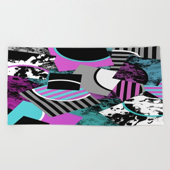 Cluttered Sqaures - Abstract, geometric, stripes, pink, cyan, blue, textured, black, white, arcs Beach Towel