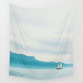 Modern Minimalist Landscape Ocean Pastel Blue Mountains With White Sail Boat Wall Tapestry