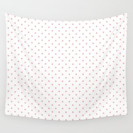 Small Blush Pink Polka Dot Spots on White Wall Tapestry