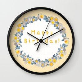 happy birthday wreath Wall Clock
