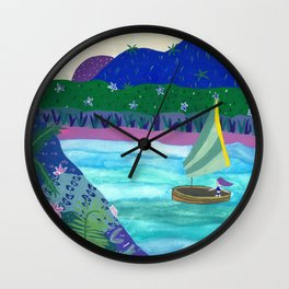 Sailing by Tropical Islands Wall Clock