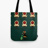 transistor Tote Bags featuring Red vs Cells by Llamasaurus