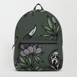 ghostface w knife ~green tones Backpack
