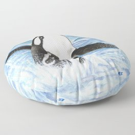 Breaching Orca Whale Watercolor Floor Pillow