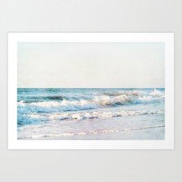 Pale Ocean Photography, Blue Seascape Photograph, Ocean Waves Photo Print Art Print