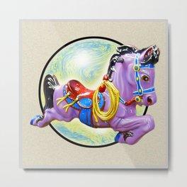 Red Saddle Purple Horse Ride Metal Print