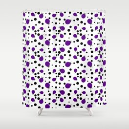 Purple Ladybugs and Black Dots Shower Curtain