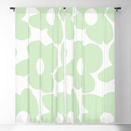 Large Baby Green Retro Flowers White Background #decor #society6 #buyart Blackout Curtain
