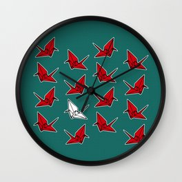 PAPER CRANES RED WHITE AND BLUE Wall Clock