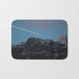 Plane Flying Over Mountains in Sunrise Bath Mat