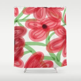 Big Red Flowers Shower Curtain