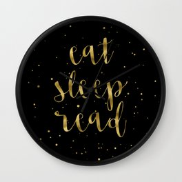Eat, Sleep, Read (Stars) - Gold Wall Clock