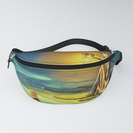 The Guiding Light, magical realism river landscape painting Fanny Pack
