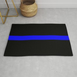 Thin Blue Line Police Flag Rug