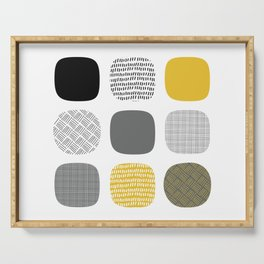 Abstract in mustard and grey Serving Tray