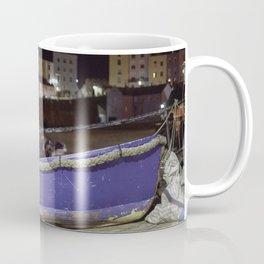 Blue Boat at Night Coffee Mug
