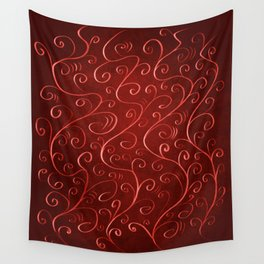 Whimsical Textured Glowing Rusty Red Swirls Wall Tapestry