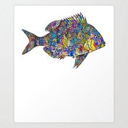 Fish Fishing Fisherman Aquarium Tropical Rainbow Beach Beautiful Fish Angler Ocean Water Sea Scuba Art Print