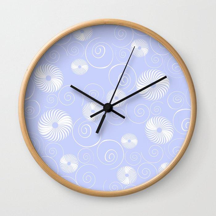 White Spirals Wall Clock