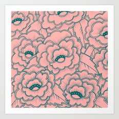 Flowers and leaves pattern - pink and green Art Print
