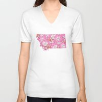 montana V-neck T-shirts featuring Montana in Flowers by Ursula Rodgers