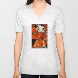 Orange and White Flowers Unisex V-Neck
