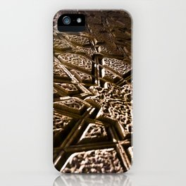 Photograph Earthy Brown Clay Star Pattern Islamic Architecture Detail iPhone Case